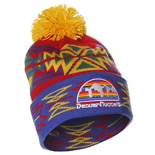 d3c36a4908d8e Denver Nuggets Cuffed Knit Hat with Pom by Mitchell   Ness KN50Z