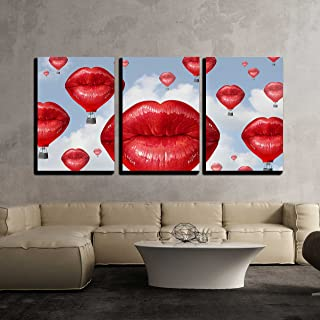 wall26 - 3 Piece Canvas Wall Art - Love Balloons as a hot air Balloon Made of Human red Lips Soaring up to The Blue Sky - Modern Home Decor Stretched and Framed Ready to Hang - 16
