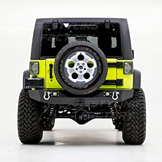 Restyling Factory - Heavy Duty Rock Crawler Rear Bumper With 2x LED Light, 2'' Hitch Receiver-Textured Black for 07-17 Jeep Wrangler JK