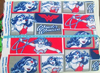 Wonder Woman in Squares Red, White, Blue and Gray Fleece Fabric - Sold by The Yard - 58 Inches Wide - 100% Polyester