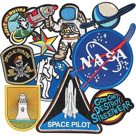 Patch Sticker, MUSCCCM 10Pcs Parches Aeroespacial Termoadhesivos DIY Coser o Planchar en Los Parches Apliques para Ropa Camiseta Sombrero Pantalon Bolsas