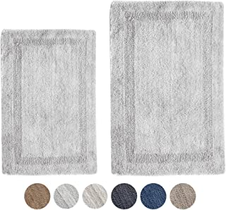 Woven St Reversible Tufted Luxury Cotton 2 Piece Bath Rugs Set for Spa Vanity Shower Super Soft Machine Washable for Bathroom/Kitchen Water Absorbent Bedroom Area Rugs (17