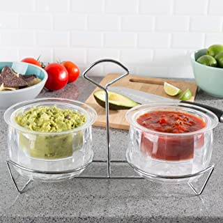 Classic Cuisine Cold Dip Bowls-2 Chilled Serving Containers with Ice Chambers and Caddy Carrier Stand-For Dip, Dressing, Salsa, Guacamole, and More