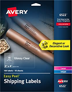 Avery Glossy Crystal Clear Address Labels for Laser & Inkjet Printers, 2