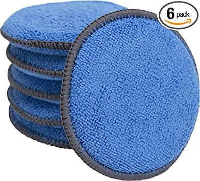 Microfiber Applicator and Cleaning Pads - 5 Inch Diameter, Blue, 6 Pack: image