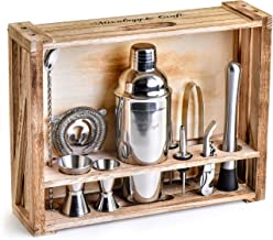 Mixology Bartender Kit: 11-Piece Bar Tool Set with Rustic Wood Stand - Perfect Home Bartending Kit and Cocktail Shaker Set...