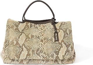 Del Conte Bags, Bolso baùl hecho a mano en cuero de becerro, con impresión reptil, forrado en algodòn, con correa removible