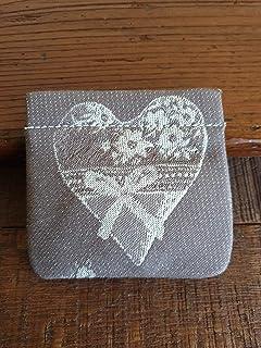 Portamonete con cuore fatto a mano, MARRONE Pastello chiaro, idea regalo, San Valentino, Anniversario, Matrimonio, Bomboni...