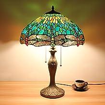 HDO 16-calowa zielona ważka biżuteria pastoral minimalistyczny styl Tiffany stół lampka lampka na biurko lampa do salonu l...
