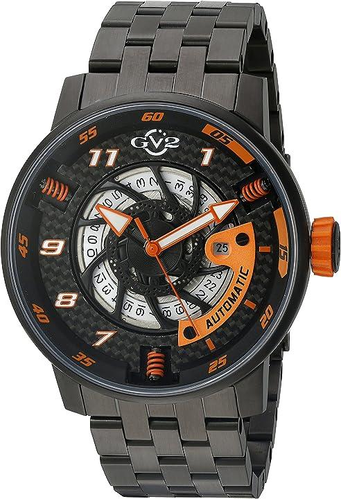 Orologio gv2 moto sport mens svizzero automatico nero bracciale in acciaio inox orologio (modello: 1304b)
