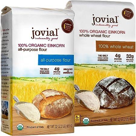 Jovial Einkorn Baking Flour Variety Pack   100% Organic Einkorn All Purpose Flour & 100% Organic Whole Wheat Einkorn Flour   High Protein   USDA Certified Organic   Product of Italy   32 oz (2 Pack)