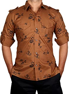 Breakthrough Hunting Shirt Printed | Rajputi Shirt | Casual Shirt | Ethnic Shirt (Golden Colour)