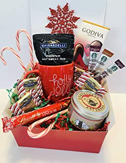 Chocolate & Candle Lovers Gift Box Filled With Ghirardelli Godiva and Lindt Gourmet Treats with Bonus Gifts Including Rescue TIns Soy Wax Candle 8 oz