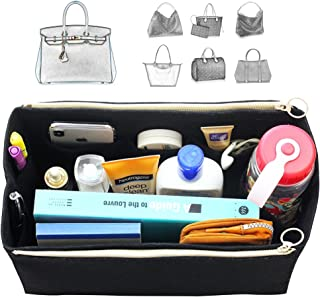 [Fits Her.mes Bags] Felt Tote Organizer (w/Double Zipper Pockets), Bag in Bag, Wool Purse Insert, Customized Tote Organize, Cosmetic Makeup Diaper Handbag
