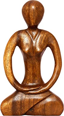 """G6 Collection 12"""" Wooden Handmade Abstract Sculpture Yoga Meditation Statue - Tranquility - Art Decorative Home Decor Handcrafted Figurine Accent Decoration Artwork Hand Carved Abstract Yoga"""