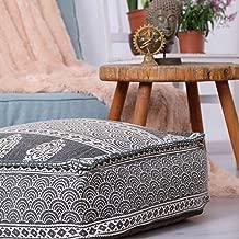 Mandala Life ART Bohemian Yoga Decor Floor Cushion - Premium Insert Included - Round Meditation Pillow - Hand Printed Organic Cotton Pouf