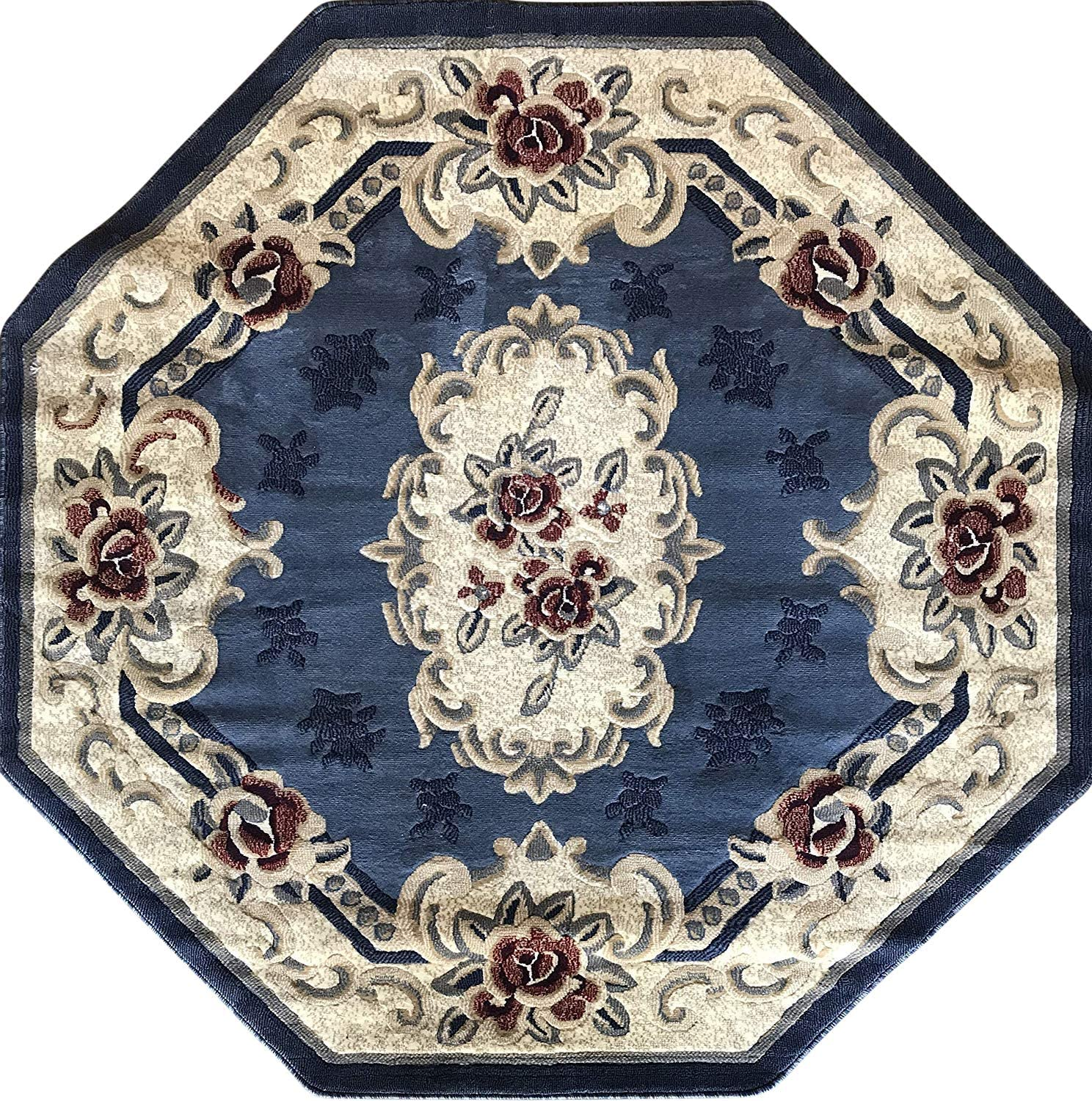 Traditional Opening large release sale Octagon Rapid rise Aubusson Floral Oriental Persian Rug B Light