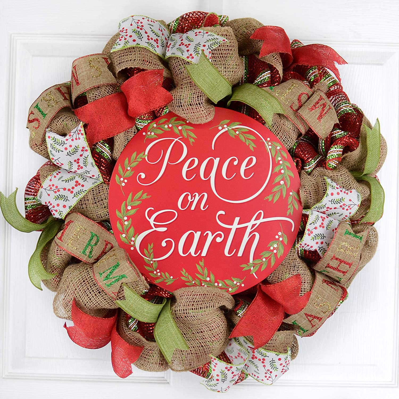 Peace on ついに入荷 Earth 販売 Christmas Front Rustic - Wreath Decorat Door