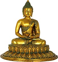 Dhyana Mudra Buddha Seated on Lotus Pedestal - Brass Statue