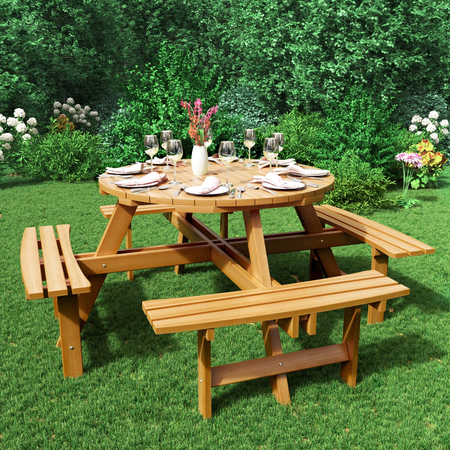 BillyOh 10 Seater Picnic Table, Large Round Wooden Garden Pub Patio Dining  Table