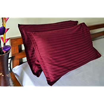Trance Home Linen 100% Cotton Pillow Covers (18X28-inch, Deep Wine) - Pack of 2