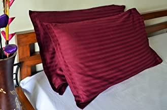 Trance Home Linen 100% Cotton Pillow Covers/Pillow Case/Pack Of 2 (Deep Wine)