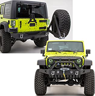 Restyling Factory -Rock Crawler Front Bumper with Skid Plate, OE Fog Lights Hole and Winch Plate+Rear Bumper with Tire Carrier and 2