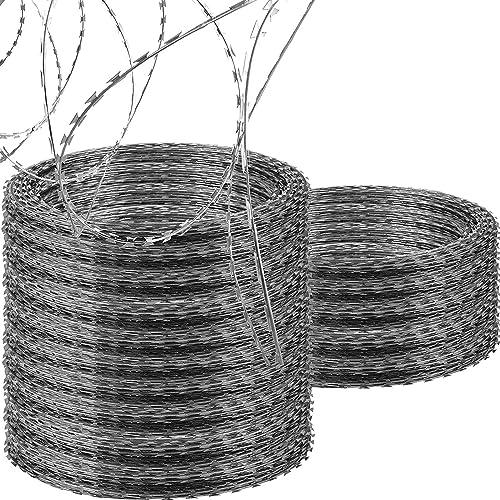 OrangeA Razor Wire Galvanized Barbed Wire Razor Ribbon Barbed Wire 18 inches 750 Feet 15 Coils Per Roll