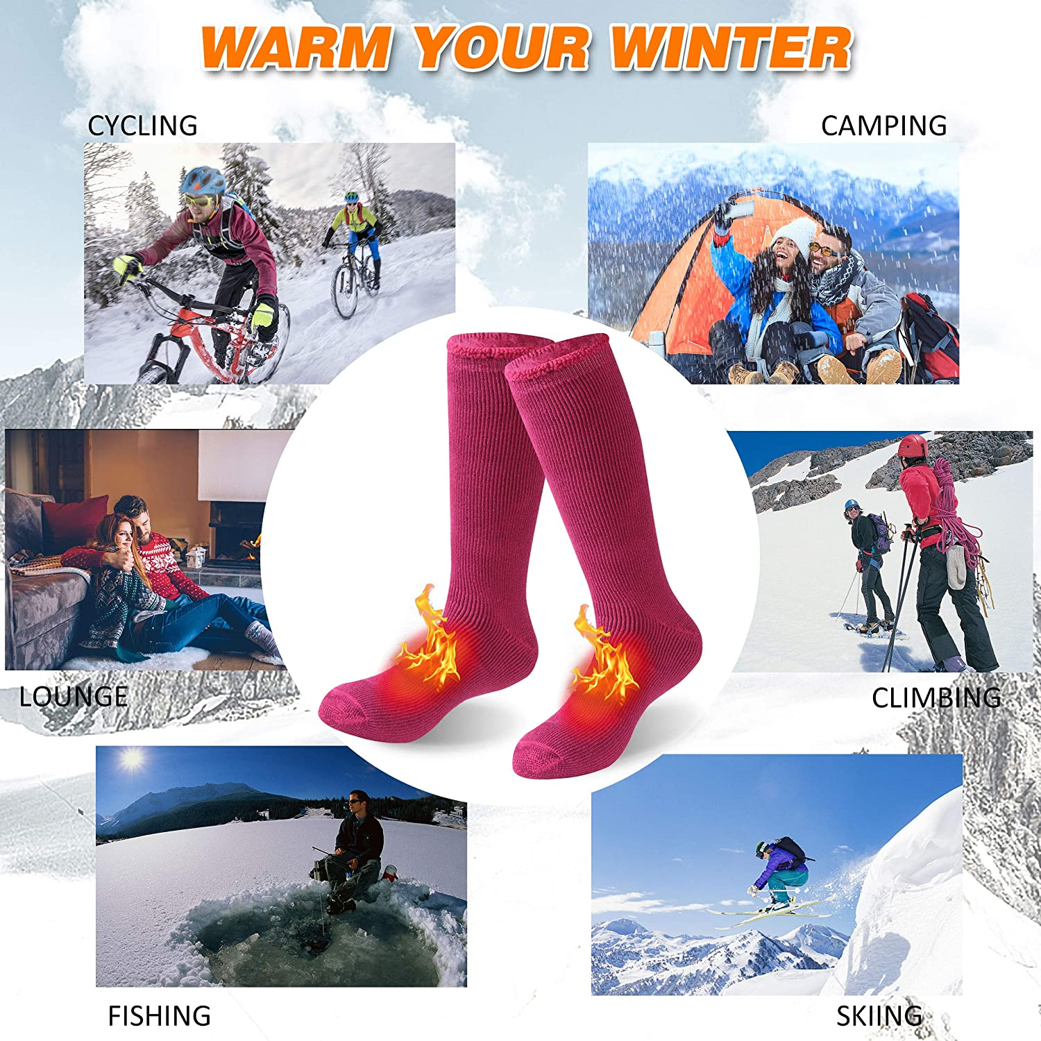 Bun Large Warm Thermal Socks Unisex Winter Insulated Thick Heavy Crew Socks