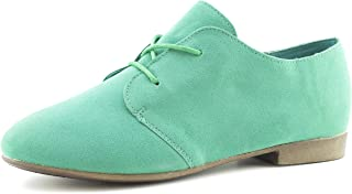 Link Womens Lace Up Faux Suede Flat Oxford Shoes (Adults)