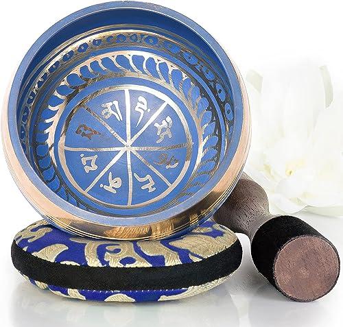 Silent Mind ~ Juego De Cuencos Tibetanos ~ Diseño Azul ~ Con Mazo De Superficie Doble Y Cojín De Seda ~ Promueve La P...