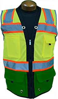SHINE BRIGHT SV544GR | Premium Surveyor's High Visibility Safety Vest | 2 Tone Lime / Hunter Green with Reflective Strips |ANSI CLASS 2 |Soft and Breathable |Heavy Duty Zipper Front | Size Large