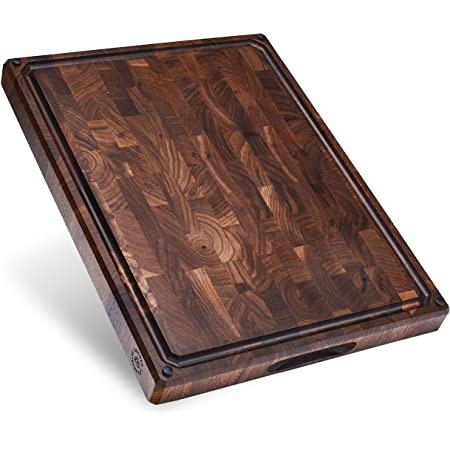 Sonder Los Angeles, Made in USA, Large Thick End Grain Walnut Wood Cutting Board with Non-Slip Feet, Juice Groove, Sorting Compartments 17x13x1.5 in (Gift Box Included)