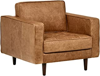 """Amazon Brand – Rivet Aiden Tufted Mid-Century Modern Leather Accent Chair, 35.4""""W, Cognac"""