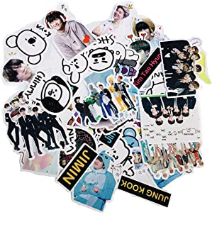 kpop BTS Stickers Luggage Case Skateboard Guitar Laptop Cell Phone Travel Door Car Bike Bicycle Stickers (BTS-53PCS)