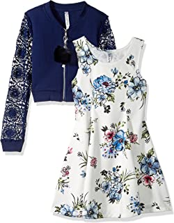 Beautees Girls' Big Two Piece Bomber Jacket and Dress