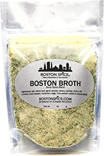 Boston Spice Boston Broth Gourmet Seasoning Blend To Make Your Own Vegetable Stock Soup Boullon for Chicken Seafood Beef Noodle Vegetables Vegetarian (Approx 1/4 Cup of Spice)