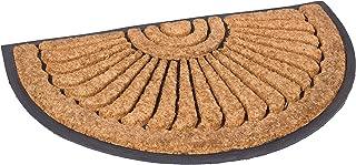 BIRDROCK HOME 18 x 30 Half Round Natural Coir and Rubber Doormat - Natural Fibers - Outdoor Doormat - Keeps Your Floors Clean - Decorative Design - Brush Coir