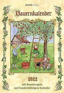 Bauernkalender 2022 - Bildkalender 23,7x34 cm - mit Wetterprognosen, Bauernregeln und liebevollen Illustrationen - Wandkal...