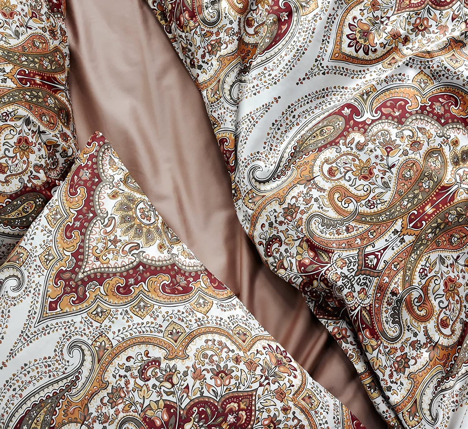 Tahari Home Duvet Quilt Cover Bohemian Style Mgoldccan Paisley Damask Medallion Print Cotton Sateen 3 Piece Bedding Set (King, Rust Copper)