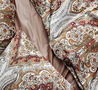 Tahari Home Duvet Quilt Cover Bohemian Style Moroccan Paisley Damask Medallion Print..