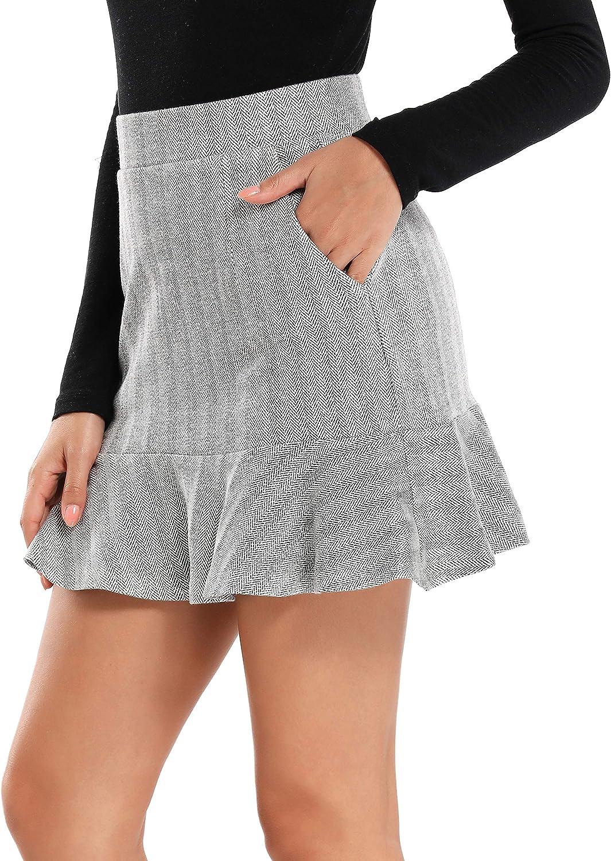 Sweetbei J Womens Ruffle Hem high Waist A Line Mini Skirts with Pockets