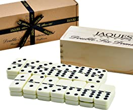 Dominoes Set - Jaques Club Quality Domino Child And Adults Game - Double Six Dominos Set in thick Club Thickness In Wooden Sliding Lid Box