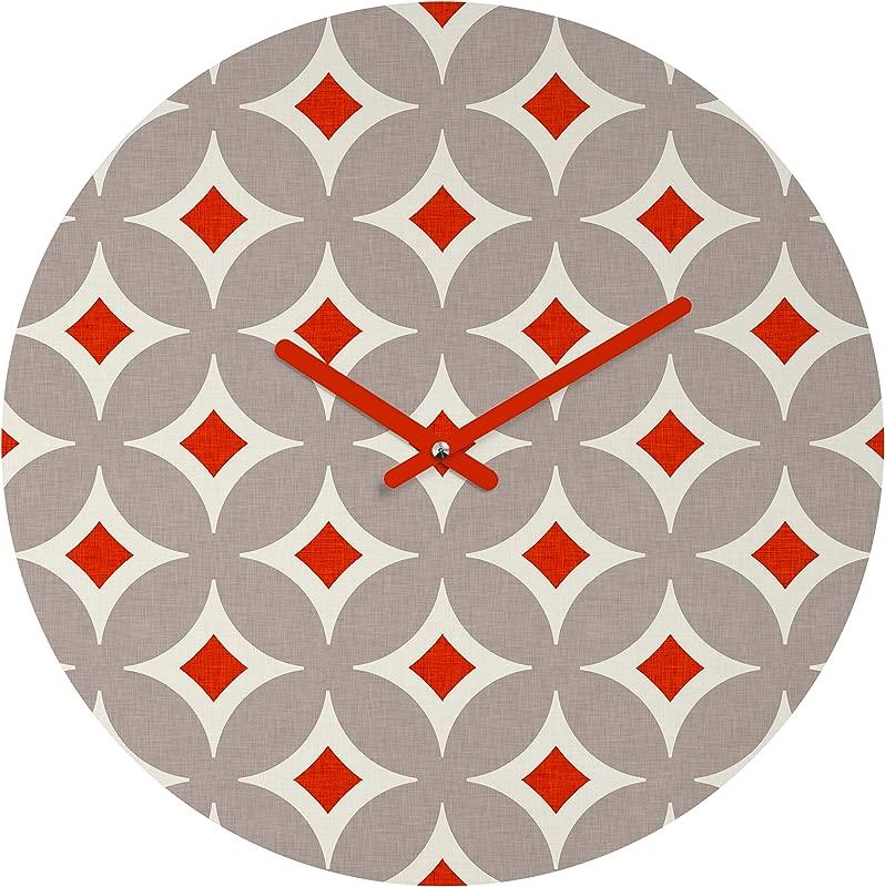 Deny Designs Holli Zollinger Vermillion Diamond Round Clock