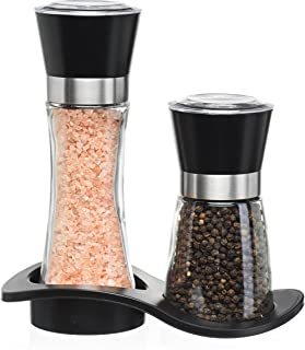 Salt and Pepper Shakers - Salt n Pepper Grinder Set, Adjustable Grind Coarseness, Stylish Base, Premium Brushed Stainless Steel Top, Great Christmas Mother's Day Gift Idea (S&P Large Small)