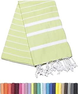 Barcelonetta | Turkish Towel | 40x70in | Beach & Bath Peshtemal | Natural, Eco-Friendly, 100% Cotton, Super Soft, Quick-Dry | Washing Machine, Dryer and Iron Safe | Made in Turkey (Baby Green)