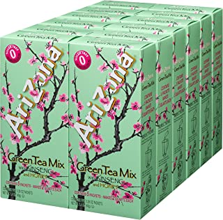 AriZona Sugar Free Green Tea with Ginseng & Honey Iced Tea Mix, 2 QT Packets (Pack of 12), Low Calorie Single Serving Drink Powder Packets, Just Add Water for Deliciously Refreshing Iced Tea Beverage