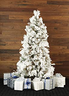 Fraser Hill Farm FFSN075-3SN Flocked Snowy Pine Artificial Christmas Tree with Smart String Lighting, 7.5