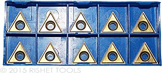 RISHET TOOLS 11712 TPU 321 C5 Uncoated Bright Finish Solid Carbide Inserts Pack of 10