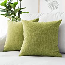 """Kevin Textile Star Lined Linen Soft Solid Throw Cushion Pillow Covers, Polyester & Polyester Blend, Linden Green, 26""""x26"""",..."""